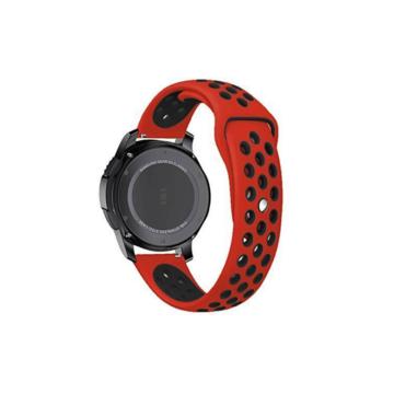 Samsung Watch/Gear S3 lélegző szíj - piros/fekete, L-méret