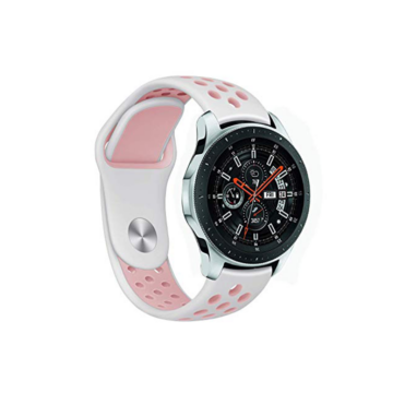 Samsung Watch/Gear S3 lélegző szíj - fehér/pink, S-méret