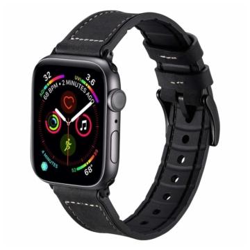 Apple Watch szilikon/bőrszíj - fekete - 42 mm/44 mm
