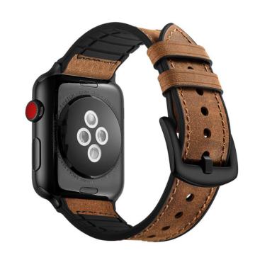 Apple Watch szilikon/bőrszíj - barna - 42 mm/44 mm