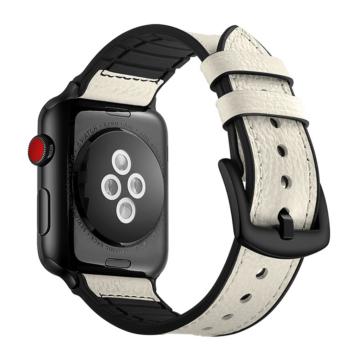 Apple Watch szilikon/bőrszíj - fehér - 38 mm/40 mm