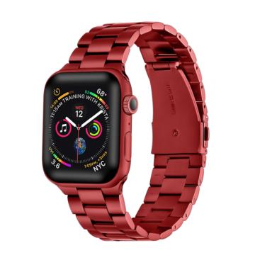 Apple Watch rozsdamentes vastag acélszíj - piros - 42 mm/44 mm