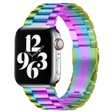 Apple Watch rozsdamentes vastag acélszíj - szirvárvány - 42 mm/44 mm