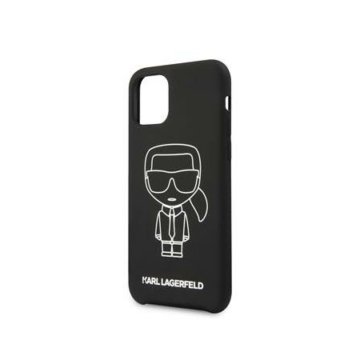 Apple iPhone 11 KARL LAGERFELD KLHCN61SILFLWB Liquid Silicon Hátlap – Fekete