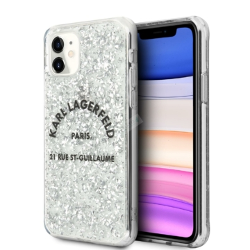 KARL LAGERFELD iPhone 11 tok (KLHCN61TRFGSL) - ezüst