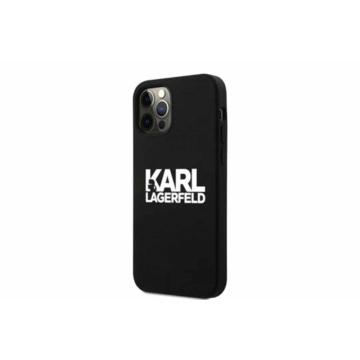 Apple iPhone 12 Mini KARL LAGERFELD (KLHCP12SSLKLRBK) liquid szilikon hátlap - fekete