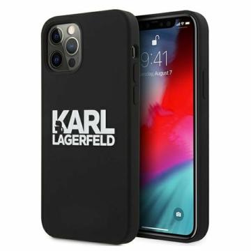 Apple iPhone 12/12 Pro KARL LAGERFELD (KLHCP12MSLKLRBK) liquid szilikon hátlap - fekete