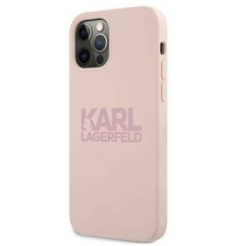 Apple iPhone 12/12 Pro KARL LAGERFELD (KLHCP12MSTKLTLP) szilikon hátlap - rózsaszín