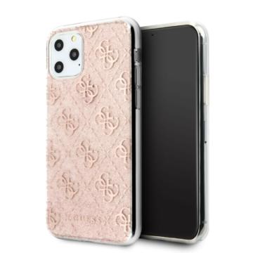 Apple iPhone 11 Pro GUESS GUHCN58PCU4GLPI Glitter TPU Hátlap - púder rózsaszín