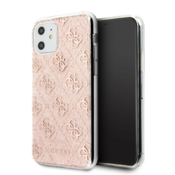 Apple iPhone 11 GUESS GUHCN61PCU4GLPI Glitter TPU Hátlap - púder rózsaszín
