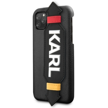 Apple iPhone 11 KARL LAGERFELD KLHCN61HDAWBK Bőr Hátlap - Fekete