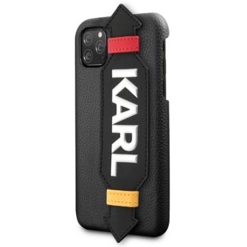 Apple iPhone 11 Pro Max KARL LAGERFELD KLHCN61HDAWBK Bőr Hátlap - Fekete