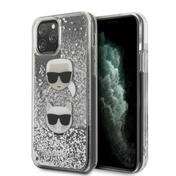 Apple iPhone 11 Pro Max KARL LAGERFELD KLHCN65KCGLSL Liquid Glitter TPU Hátlap - ezüst