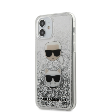 Apple iPhone 12 Mini KARL LAGERFELD KLHCP12SKCGLSL Liquid Glitter TPU Hátlap - Ezüst