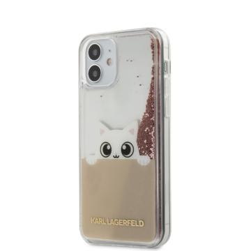 Apple iPhone 12 Mini KARL LAGERFELD KLHCP12SPABGNU Liquid Glitter TPU Hátlap - rózsaszín