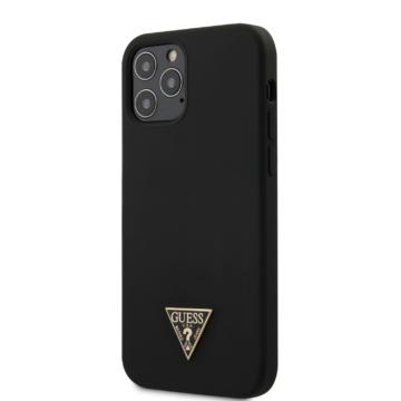 Apple iPhone 12 Pro Max GUESS GUHCP12LLSTMBK Liquid Silicon Hátlap - fekete