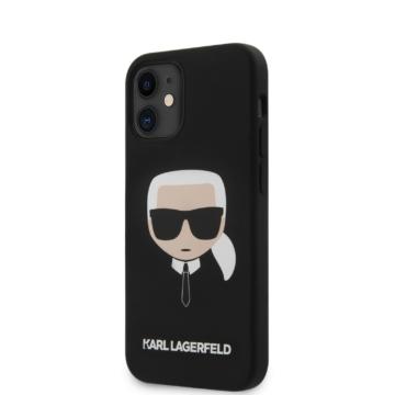 Apple iPhone 12 Mini KARL LAGERFELD KLHCP12SSLKHBK Liquid Silicon Hátlap - fekete