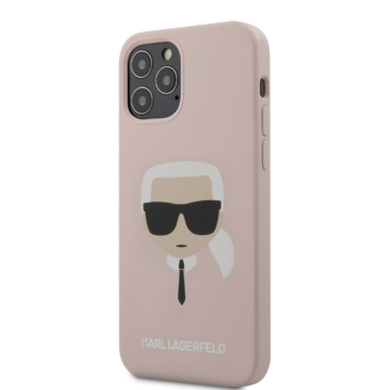 Apple iPhone 12 Pro Max KARL LAGERFELD KLHCP12LSLKHLP Liquid Silicon Hátlap - púder rózsaszín