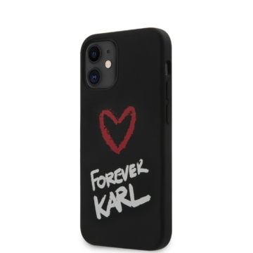 Apple iPhone 12 Mini KARL LAGERFELD KLHCP12SSLKRBK Liquid Silicon Hátlap - Fekete