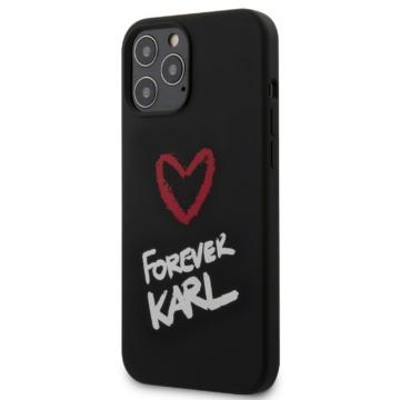 Apple iPhone 12/12 Pro KARL LAGERFELD KLHCP12MSLKRBK Liquid Silicon Hátlap - fekete