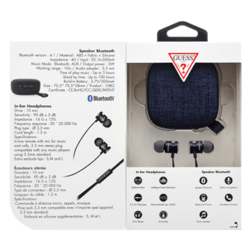 Guess Szett Black. Headset + BT Speaker (GUBPERSPBK)