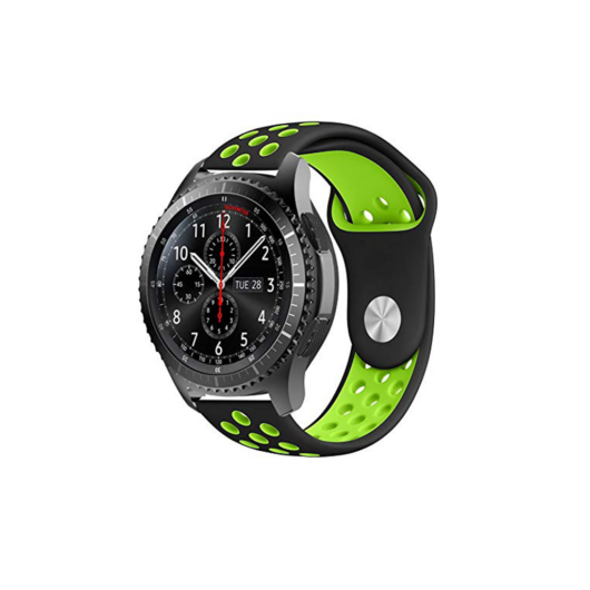 Samsung Watch/Gear S3 lélegző szíj - fekete/zöld, L-méret