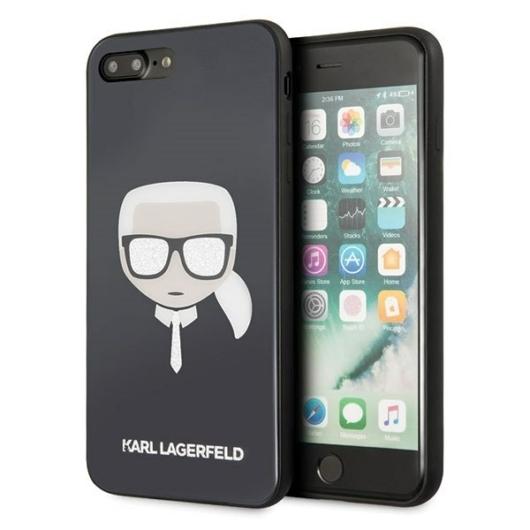Apple iPhone 7/8 Plus KARL LAGERFELD KLHCI8LDLHBK Hátlap – Fekete