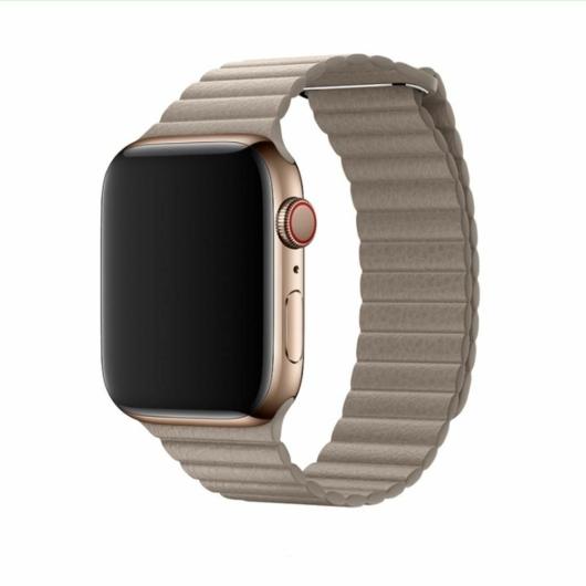 DEVIA Apple watch Elegant Leather Loop 42/44 mm óraszíj - stone