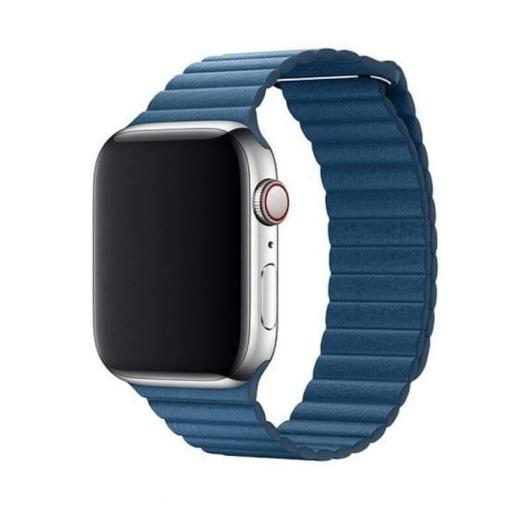 DEVIA Apple watch Elegant Leather Loop 42/44 mm óraszíj - kék