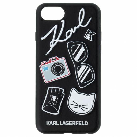 Apple iPhone 7/8/SE2 KARL LAGERFELD KLHCI8PIN Bőr Hátlap - Fekete