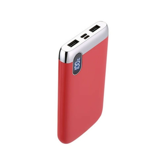 Joyroom D-M194 Elegance 10000 mAh Powerbank - Piros - Digitális Kijelzés