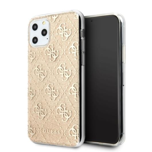 Apple iPhone 11 Pro GUESS GUHCN58PCU4GLGO Glitter TPU Hátlap - Arany