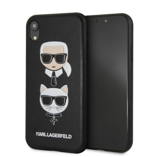 Apple iPhone XR KARL LAGERFELD KLHCI61KICKC Bőr Hátlap - Fekete