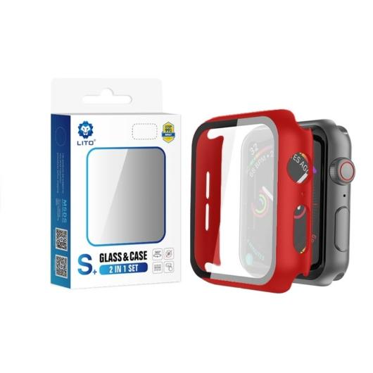 Apple iWatch 4/5 44mm Lito S+ Üveg Előlap - Piros - Anti-Shock/Ütésálló