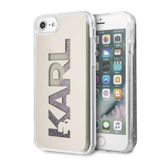 Apple iPhone 7/8/SE2 KARL LAGERFELD KLHCI8KLMLGR Liquid Glitter TPU Hátlap - Ezüst
