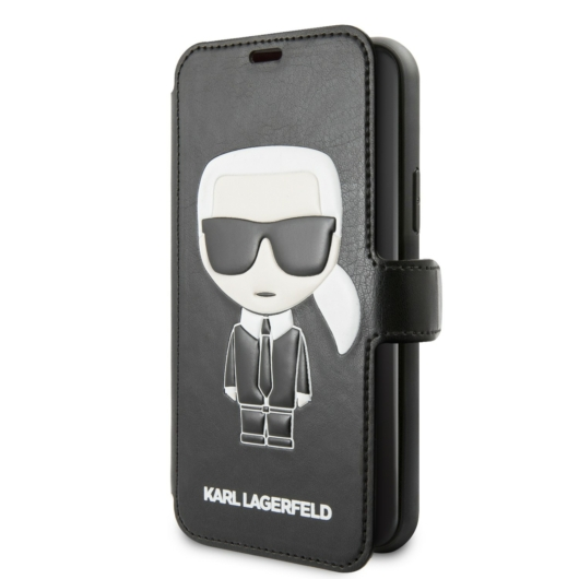 Apple iPhone 11 KARL LAGERFELD KLFLBKSN61FIKPU Könyvtok - Fekete