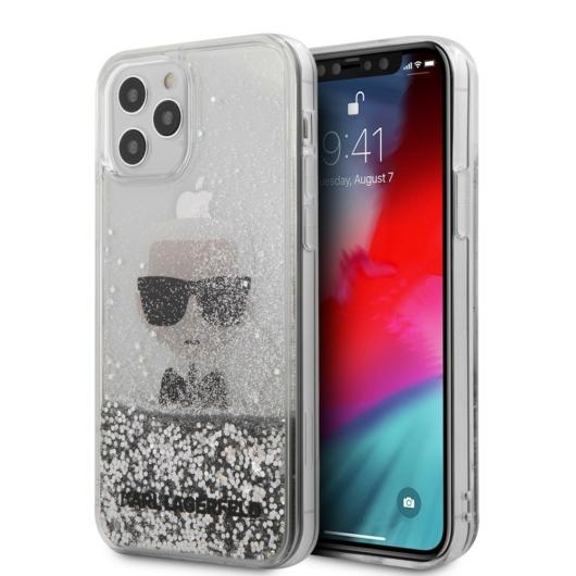 Apple iPhone 12 Pro Max KARL LAGERFELD KLHCP12LCFNRC Liquid Glitter TPU Hátlap - Ezüst