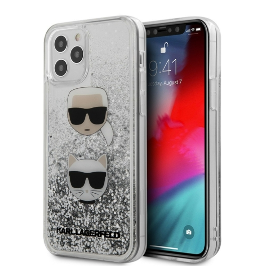 Apple iPhone 12/12 Pro KARL LAGERFELD KLHCP12MKCGLSL Liquid Glitter TPU Hátlap - Ezüst