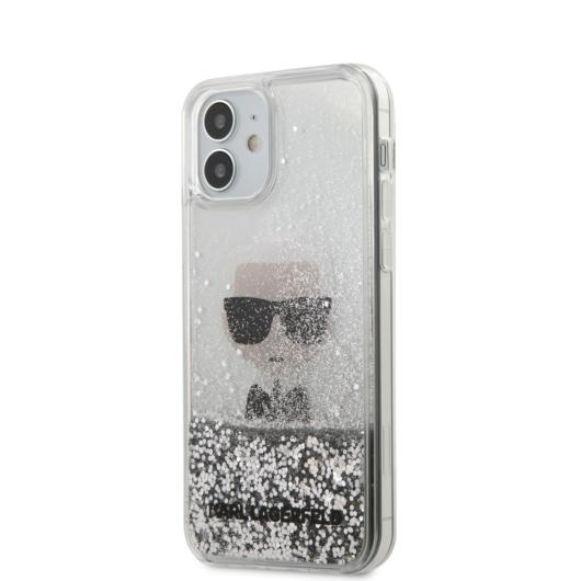 Apple iPhone 12 Mini KARL LAGERFELD KLHCP12SCFNRC Liquid Glitter TPU Hátlap - Ezüst