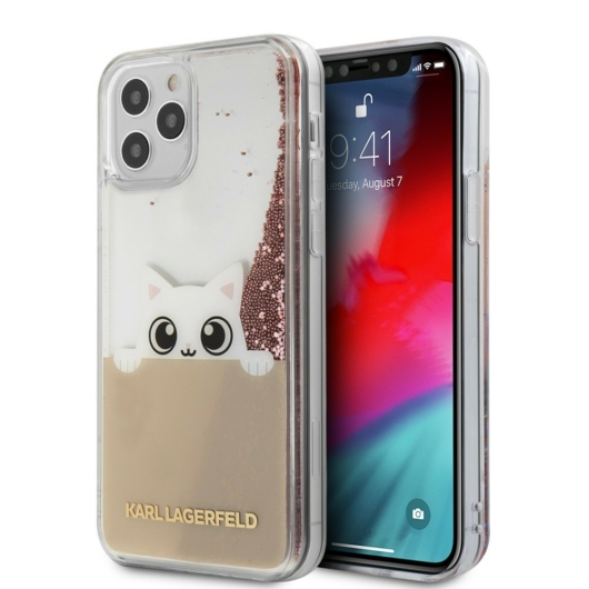 Apple iPhone 12 Pro Max KARL LAGERFELD KLHCP12LPABGNU Liquid Glitter TPU Hátlap - Rózsaszín