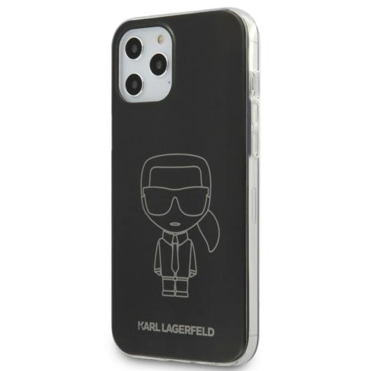 Apple iPhone 12/12 Pro KARL LAGERFELD KLHCP12MPCUMIKBK TPU Hátlap - Fekete