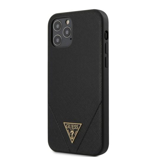 Apple iPhone 12/12 Pro GUESS GUHCP12MVSATMLBK Hátlap - Fekete