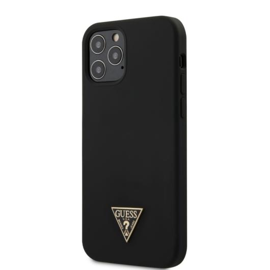 Apple iPhone 12/12 Pro GUESS GUHCP12MLSTMBK Liquid Silicon Hátlap - Fekete
