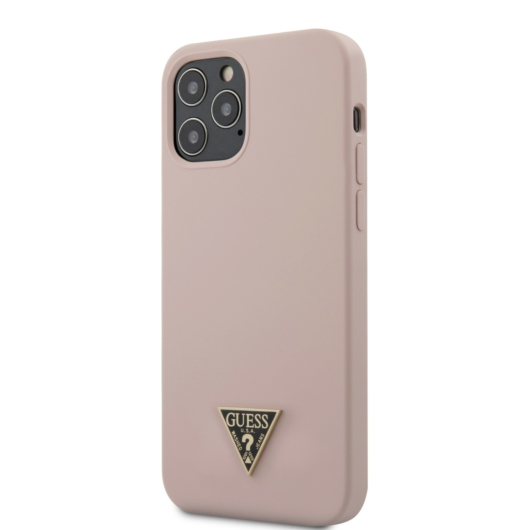 Apple iPhone 12 Pro Max GUESS GUHCP12LLSTMLP Liquid Silicon Hátlap - Púder Rózsaszín