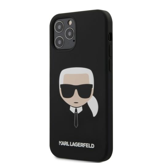 Apple iPhone 12 Pro Max KARL LAGERFELD KLHCP12LSLKHBK Liquid Silicon Hátlap - Fekete