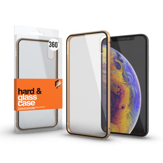 Magnetic tok (360°) Átlátszó. Arany kerettel Apple iPhone X / XS készülékhez