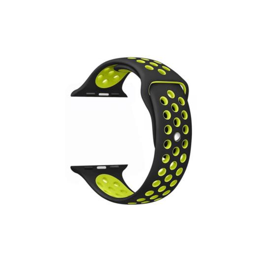 Apple Watch lélegző sport szíj. 38/40mm. Fekete/Zöld
