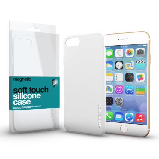 Magnetic Soft Touch Silicone Case fehér Apple iPhone 7 Plus / 8 Plus készülékhez