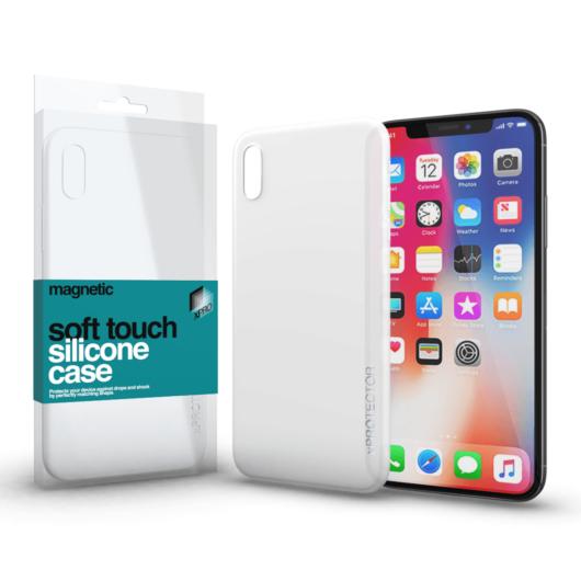 Magnetic Soft Touch Silicone Case fehér Apple iPhone X készülékhez