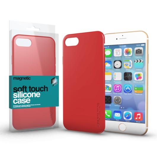 Magnetic Soft Touch Silicone Case korallpiros Apple iPhone 7 Plus / 8 Plus készülékhez